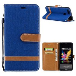 Jeans Cowboy Denim Leather Wallet Case for Huawei Honor 7X - Sapphire