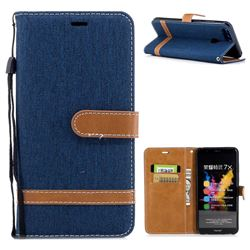 Jeans Cowboy Denim Leather Wallet Case for Huawei Honor 7X - Dark Blue