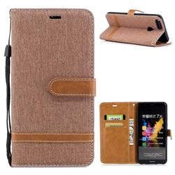 Jeans Cowboy Denim Leather Wallet Case for Huawei Honor 7X - Brown
