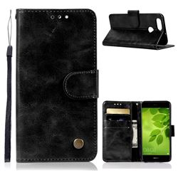 Luxury Retro Leather Wallet Case for Huawei Honor 7X - Black