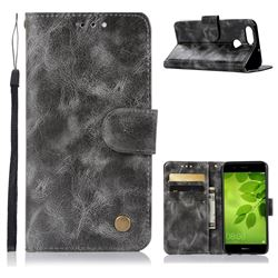 Luxury Retro Leather Wallet Case for Huawei Honor 7X - Gray