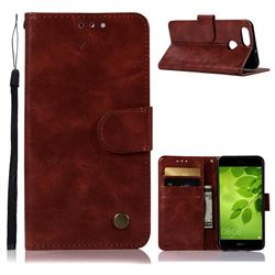 Luxury Retro Leather Wallet Case for Huawei Honor 7X - Wine Red