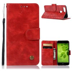 Luxury Retro Leather Wallet Case for Huawei Honor 7X - Red
