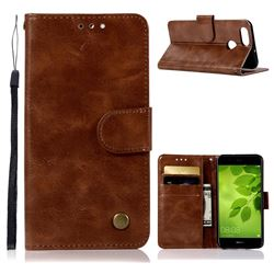 Luxury Retro Leather Wallet Case for Huawei Honor 7X - Brown