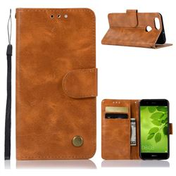 Luxury Retro Leather Wallet Case for Huawei Honor 7X - Golden