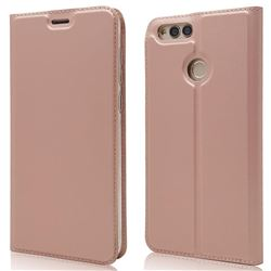 Ultra Slim Card Magnetic Automatic Suction Leather Wallet Case for Huawei Honor 7X - Rose Gold
