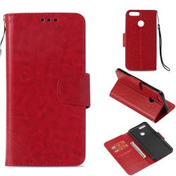 Retro Phantom Smooth PU Leather Wallet Holster Case for Huawei Honor 7X - Red