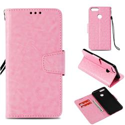 Retro Phantom Smooth PU Leather Wallet Holster Case for Huawei Honor 7X - Pink