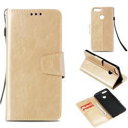 Retro Phantom Smooth PU Leather Wallet Holster Case for Huawei Honor 7X - Champagne