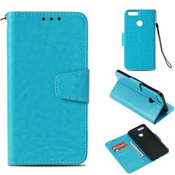 Retro Phantom Smooth PU Leather Wallet Holster Case for Huawei Honor 7X - Sky Blue