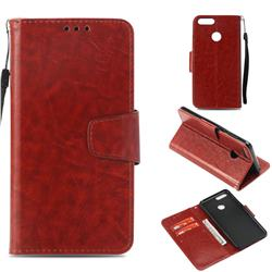 Retro Phantom Smooth PU Leather Wallet Holster Case for Huawei Honor 7X - Brown