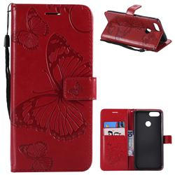 Embossing 3D Butterfly Leather Wallet Case for Huawei Honor 7X - Red
