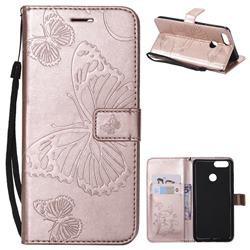 Embossing 3D Butterfly Leather Wallet Case for Huawei Honor 7X - Rose Gold