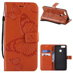Embossing 3D Butterfly Leather Wallet Case for Huawei Honor 7X - Orange