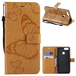 Embossing 3D Butterfly Leather Wallet Case for Huawei Honor 7X - Yellow