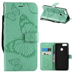 Embossing 3D Butterfly Leather Wallet Case for Huawei Honor 7X - Green