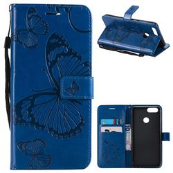 Embossing 3D Butterfly Leather Wallet Case for Huawei Honor 7X - Blue