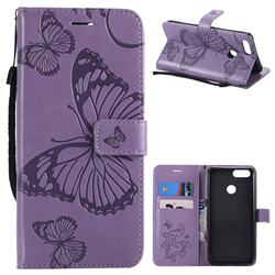 Embossing 3D Butterfly Leather Wallet Case for Huawei Honor 7X - Purple