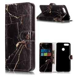 Black Gold Marble PU Leather Wallet Case for Huawei Honor 7X