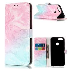 Pink Green Marble PU Leather Wallet Case for Huawei Honor 7X