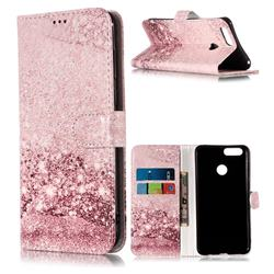 Glittering Rose Gold PU Leather Wallet Case for Huawei Honor 7X