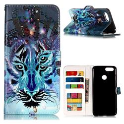 Ice Wolf 3D Relief Oil PU Leather Wallet Case for Huawei Honor 7X