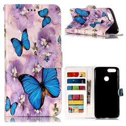 Purple Flowers Butterfly 3D Relief Oil PU Leather Wallet Case for Huawei Honor 7X