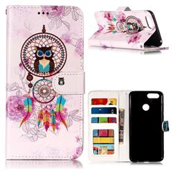 Wind Chimes Owl 3D Relief Oil PU Leather Wallet Case for Huawei Honor 7X