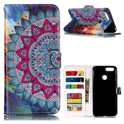 Mandala Flower 3D Relief Oil PU Leather Wallet Case for Huawei Honor 7X