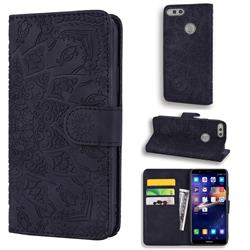 Retro Embossing Mandala Flower Leather Wallet Case for Huawei Honor 7X - Black