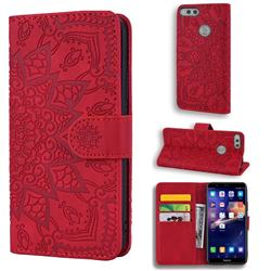 Retro Embossing Mandala Flower Leather Wallet Case for Huawei Honor 7X - Red