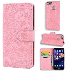 Retro Embossing Mandala Flower Leather Wallet Case for Huawei Honor 7X - Pink