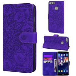 Retro Embossing Mandala Flower Leather Wallet Case for Huawei Honor 7X - Purple