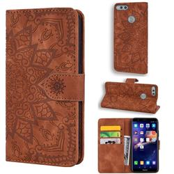 Retro Embossing Mandala Flower Leather Wallet Case for Huawei Honor 7X - Brown