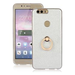 Luxury Soft TPU Glitter Back Ring Cover with 360 Rotate Finger Holder Buckle for Huawei Honor 8 - White