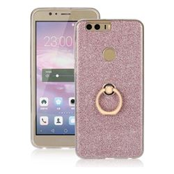 Luxury Soft TPU Glitter Back Ring Cover with 360 Rotate Finger Holder Buckle for Huawei Honor 8 - Pink