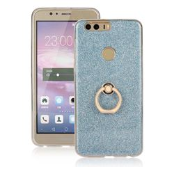 Luxury Soft TPU Glitter Back Ring Cover with 360 Rotate Finger Holder Buckle for Huawei Honor 8 - Blue
