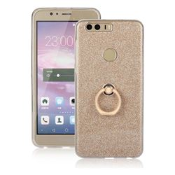 Luxury Soft TPU Glitter Back Ring Cover with 360 Rotate Finger Holder Buckle for Huawei Honor 8 - Golden