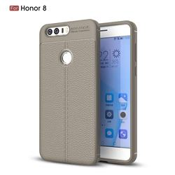 Luxury Auto Focus Litchi Texture Silicone TPU Back Cover for Huawei Honor 8 - Gray