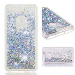 Dynamic Liquid Glitter Quicksand Sequins TPU Phone Case for Huawei Honor 8 - Silver
