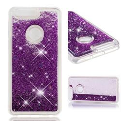Dynamic Liquid Glitter Quicksand Sequins TPU Phone Case for Huawei Honor 8 - Purple