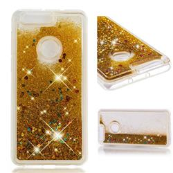 Dynamic Liquid Glitter Quicksand Sequins TPU Phone Case for Huawei Honor 8 - Golden
