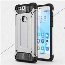 King Kong Armor Premium Shockproof Dual Layer Rugged Hard Cover for Huawei Honor 8 - Silver Grey