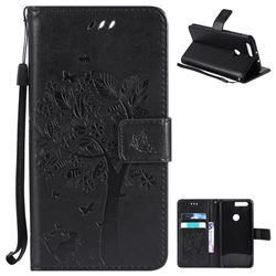 Embossing Butterfly Tree Leather Wallet Case for Huawei Honor 8 - Black