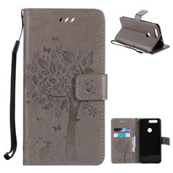 Embossing Butterfly Tree Leather Wallet Case for Huawei Honor 8 - Grey
