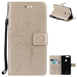 Embossing Butterfly Tree Leather Wallet Case for Huawei Honor 8 - Champagne