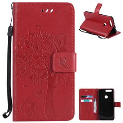 Embossing Butterfly Tree Leather Wallet Case for Huawei Honor 8 - Red
