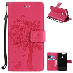 Embossing Butterfly Tree Leather Wallet Case for Huawei Honor 8 - Rose