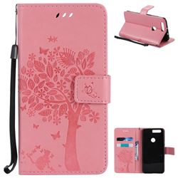 Embossing Butterfly Tree Leather Wallet Case for Huawei Honor 8 - Pink