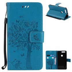 Embossing Butterfly Tree Leather Wallet Case for Huawei Honor 8 - Blue